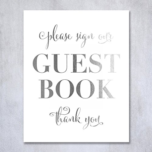Guest Book Silver Foil Poster Sign Art Print Wedding Reception Seating Signage Bridal Shower Brunch & Bubbly Poster Decor 8 inches x 10 inches