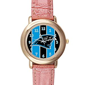 Time Walker Men's NFL Carolina Panthers Luxury Analog Sport Steel Case Quartz Leather Pink Wrist Watch