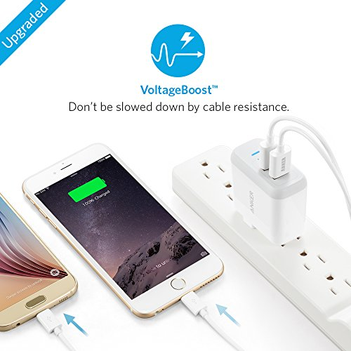 Anker PowerPort 2 (24W 2ポート USB急速充電器 折畳式プラグ搭載) iPhone 6s / 6 / 6 Plus、 iPad Air 2 / mini 3、 Galaxy S6 / S6 Edge / Edge+、 Note 5 など対応 (ホワイト)