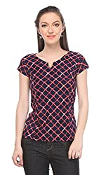 Wearsense Women's Top (Navy and Pink, Medium)