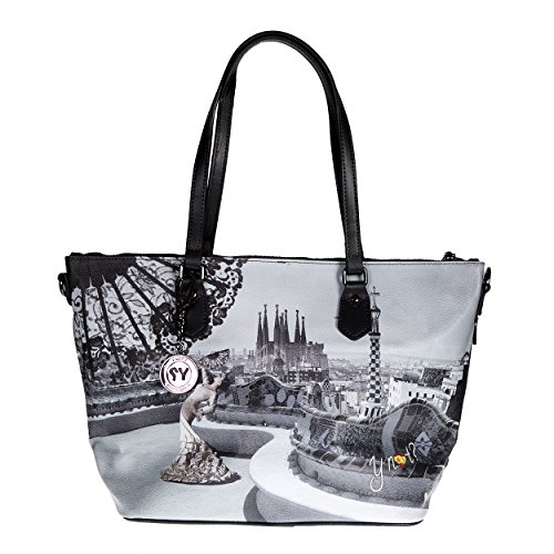 Y NOT? - Borsa donna shopper con manici tracolla shopping media barcellona flamenco