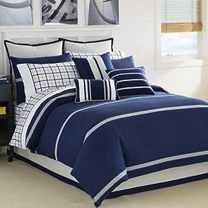 Nautica Dust Ruffle Navy Blue & Kahki Cal King Bedskirt