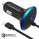 Quick Charge 2.0 Car Charger, Maxboost 30W Dual Output USB -Smart 5V/2.4A +QC 2.0 12V/9V/5V MicroUSB Cable for Samsung Galaxy S7/S6/Edge/Edge Plus/Note 6 5,HTC One,LG, Nexus 5 6 4 7, iPhone 6S/6S Plus