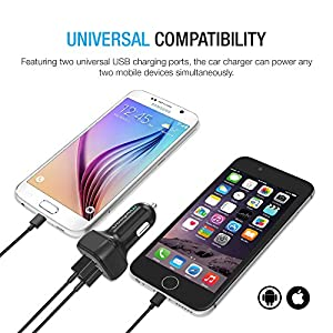 Car Charger, Maxboost 4.8A/24W 2 Smart Port Car Charger [Black] for iPhone 6S Plus 6 Plus 6 5SE 5S 5 5C 4S, Samsung Galaxy S7 S6 Edge Plus Note 5 4 S5 Tab S, LG G5 G4, HTC,Nexus 5X 6P, iPads Portable
