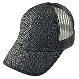 G Straw Mesh Trucker Cap Hat Adjustable Low Profile Black Black