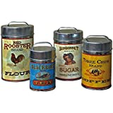 Vintage Tin Country Canisters Food Safe Set of 4