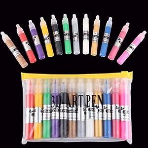 SODIAL(R) 12 Colors UV Gel Acrylic Nail Art Polish 3D Paint Pens