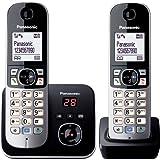Panasonic KX-TG6822GB DECT-Schnurlostelefon (4,6 cm (1,8 Zoll) Grafik-Display) mit Anrufbeantworter schwarz