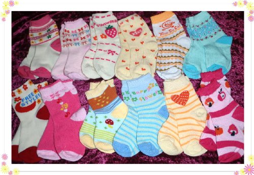 12 Pair Lot Baby Girls Colorful Computer Crew Socks 18-24 Months Toddler Kids