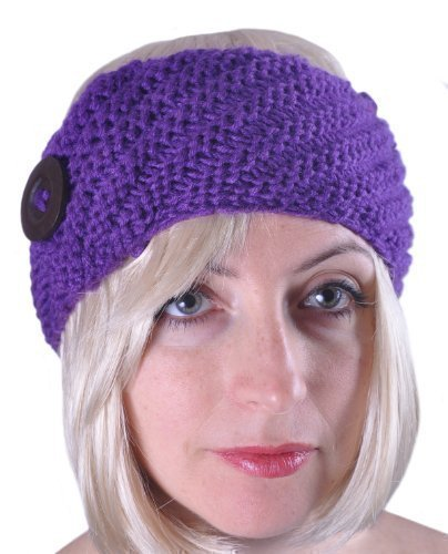 Winter Wool Headband with Button Ski Earmuff (Purple) Reviews