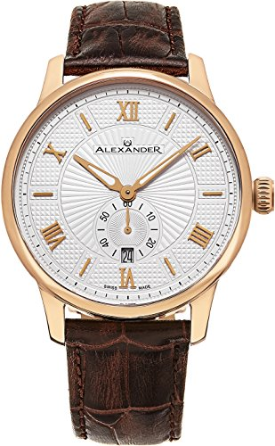 Alexander-Statesman-Regalia-Wrist-Watch-For-Men-Brown-Leather-Analog-Swiss-Watch-Stainless-Steel-Plated-Rose-Gold-Watch-Silver-White-Dial-Date-Small-Seconds-Mens-Designer-Watch-A102-05