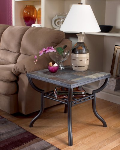 Image of Contemporary Black End Table (T233-2)