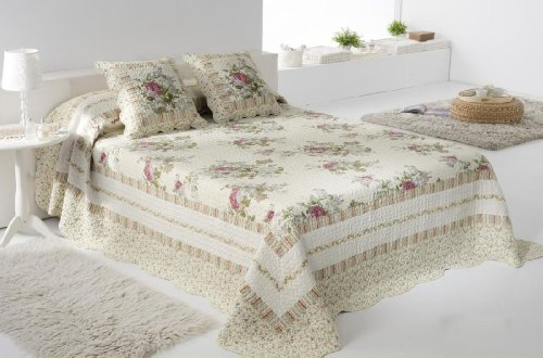 3 Pc Quilt Bedspread Blanket Cover Light Green And Beige Floral Design Queen Or King Size (Queen) (Queen) front-1071644