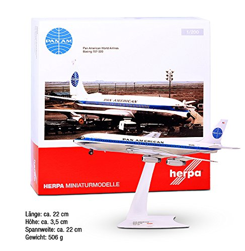 "Plane Model - Pan Am 707-320 ""Jet Clipper Golden Eagle"" - Aircraft Plane Model Pan American World Airlines - Herpa airplane model - Scale 1/200"
