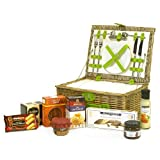 Luxury 2 Person Green Faux Leather Picnic Basket Hamper with Chiller Compartment, Accessories & A Summer Fine Food Selection Gift ideas for - Valentines,Presents,Birthday,Men,Him,Dad,Her,Mum,Thank you,Wedding Anniversary,Engagement,18th,21st,30th,40th,50