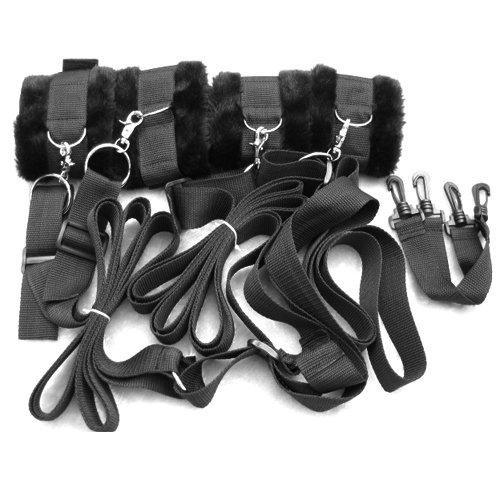 Dcolor Black Under Bed Restraint System with Faux Fur Cuffs - hidden secret bondage set from Dcolor