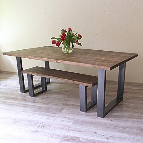 Tavolo da pranzo in legno massello di pino colore marrone in stile industriale rustico con gambe a forma di U in acciaio fatto a mano