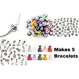 Coffret cadeau pour faire 5 bracelets à breloques Comprend 5 bracelets de style Pandora, 25 perles en verre de Murano, 10 breloques tibétaines, 10 pendentifs tibétains, 5 clips de blocage et 5 pochettes en organza À confectionner soi-même