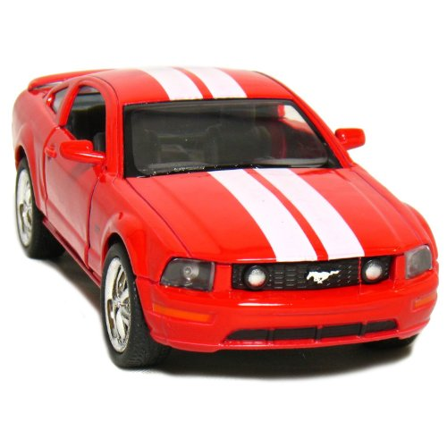 "5"" 2006 Ford Mustang GT with Stripes 1:38 Scale (Red) by Kinsmart - 1"