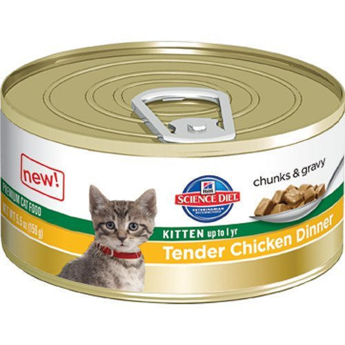 See Hill's Science Diet Kitten Tender Chicken Dinner Chunks and Gravy Cat Food Can, 2.9-Ounce, 24-Pack