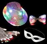 パーティーグッズLEDで光るハット手袋蝶ネクタイセットマジシャンコスプレハロウィン仮装変装帽子コンサートイベントにも最適<パーティー4点セット>