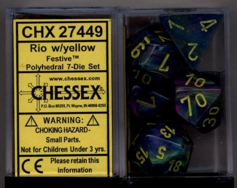 Chessex Dice: Polyhedral 7-Die Festive Dice Set - Rio Marble Swirl with Yellow Pips