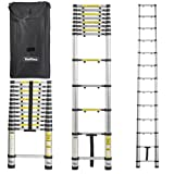 VonHaus 12.5ft Aluminum Telescoping Extension Ladder with Finger Save Stoppers + Free Carry Bag