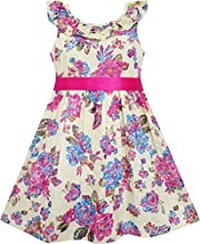 Sunny Fashion Girls Dress Flower Detailing Overlap Collar Pink