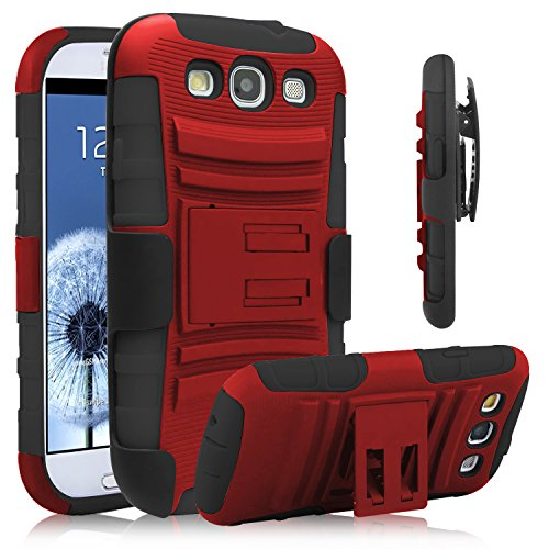 Galaxy S3 Case, Venoro [Heavy Duty] Armor Holster Defender Full Body Protective Hybrid Case Cover with Kickstand & Belt Swivel Clip for Samsung Galaxy S3 S III I9300 (Red+Black) (Galaxy S Iii Cover compare prices)