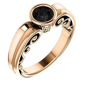 18K Rose Gold Round Cut Black Diamond Engagement Ring - 0.75 Ct.
