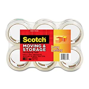 Scotch Long Lasting Moving & Storage Packaging Tape, 1.88 Inches x 54.6 Yards, 6 Rolls (3650-6)