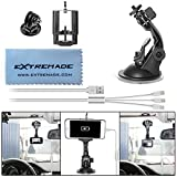 Car Suction Cup Mount for GoPro / Action Camera / iPhone / Smartphone Car Camcorder Suction Holder Cradle Bracket Support GPS Navigation w/ Super Wide Cell Phone Clip / Gopro Adapter / 3in1 USB Cable