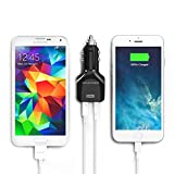 [Top Rated Car Charger] RAVPower Dual USB Car Adapter (4.8A / 24W, iSmart Charging, Built-in Safety Protection) for iPhone 6s / 6s Plus, iPad Pro / Air 2 / Mini 4, Galaxy S7 / S6 Edge / Note 5 and More - Black
