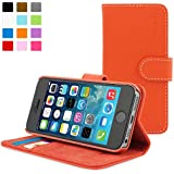 Snugg iPhone 5 / 5s Case - Leather Flip Case with Lifetime Guarantee (Orange) for Apple iPhone 5 / 5s