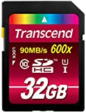 Transcend 32GB SDHC Class 10 UHS-1 Flash Memory Card Up to 90MB/s (TS32GSDHC10U1)