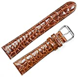 Alligator Grain Watchband Brown 20mm Extra Long Watch band – by deBeer