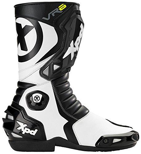 XPD - Stivali da Moto VR6, Nero/Bianco, 38