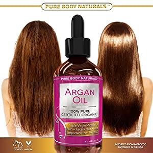Argan Oil For Hair, Face, Skin & Nails - HUGE 4OZ Bottle - Triple Purified Moroccan Argan Oil - Perfect Gift for Men & Women, 100% PURE - Therapeutic for All Skin Conditions - Very Lightweight & Delicate Oil gives INSTANT results leaving Soft, Silky, Hydr