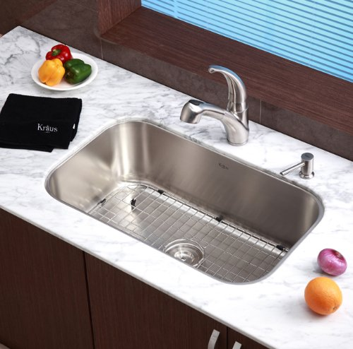Kraus KBU14 30-Inch Undermount Single Bowl 16 gauge Kitchen Sink ...