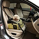 Pet Booster Seat/Dog Carrier/Pet Car Seat, Freehawk® Portable Fordable Cat Kitty Puppy Dog Booster Seat Travel Bag Cage Kennel for Car Truck Suv W/ Zipper Storage&Clip-On Safety Leash Tether (Beige)