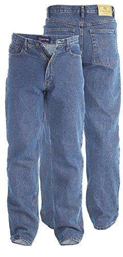 Duke Herren Jeans Comfort Straight Fit Extra Hoch Schrittlänge 35 36 37 38 - Herren, RJ710 - Steingewaschen, 40W x 37L