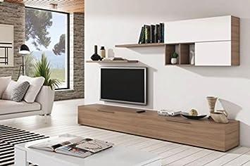 Mueble de comedor o salón modular con varios estantes de 260 cm color haya y blanco brillo