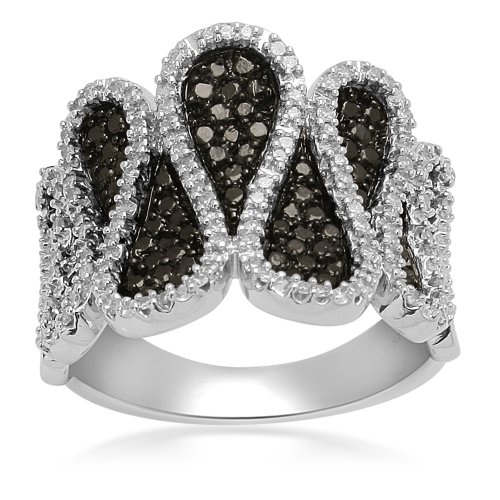 Sterling Silver Black and White Diamond Ring (1/3 cttw, I-J Color, I3), Size 6