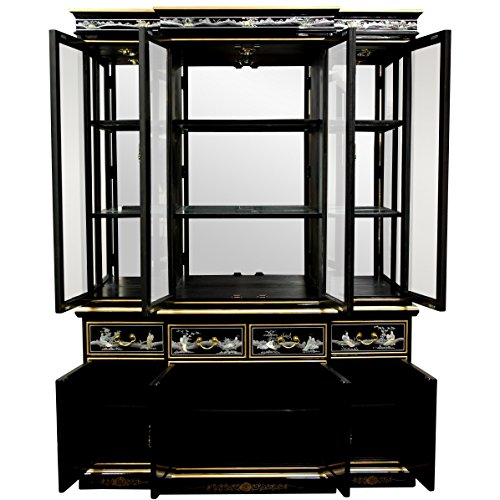 Oriental Furniture Black Lacquer Breakfront Cabinets