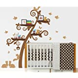 Book Shelf Tree Wall Decal - Birdhouse, Squirrels, Bunnies and More