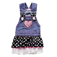 Adarl Cute Denim Strap Chiffon T-Shirt Dress Coat Clothes Apparel Costume For Dogs Cats Puppy Pets