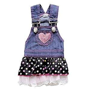 Adarl Cute Denim Strap Chiffon T-Shirt Dress Coat Clothes Apparel Costume For Dogs Cats Puppy Pets