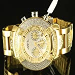 Diamond Metal Band Aqua Master Father Special 3 Dial Ice King Golden Watch