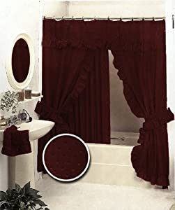 Amazon Com New Double Swag Fabric Shower Curtain Set