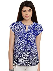 Blue Print Poly Crepe Top